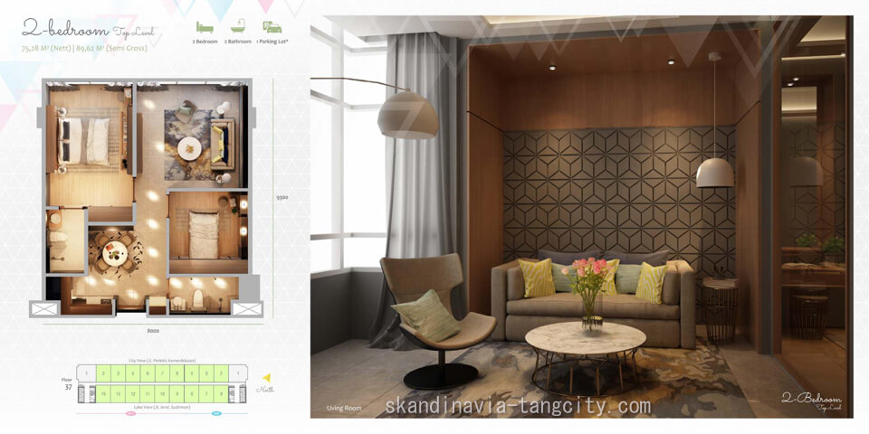 Denah Apartemen Skandinavia Tangcity 1 BR